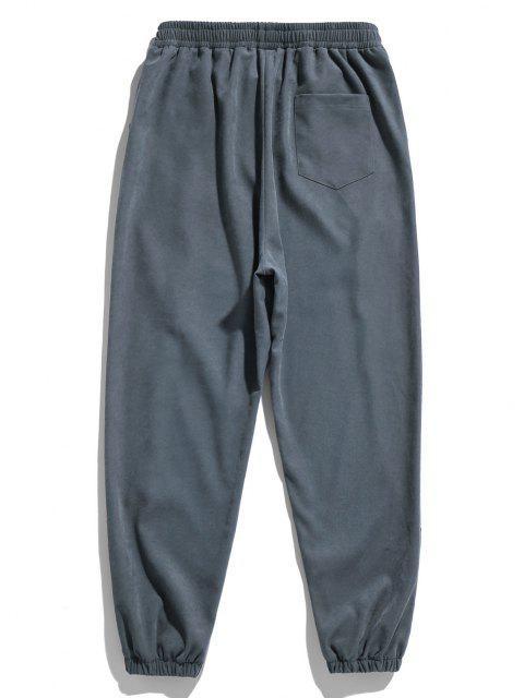 Buchstabedruck Applique Elastische Taille Hose - Blaugrau 2XL Mobile