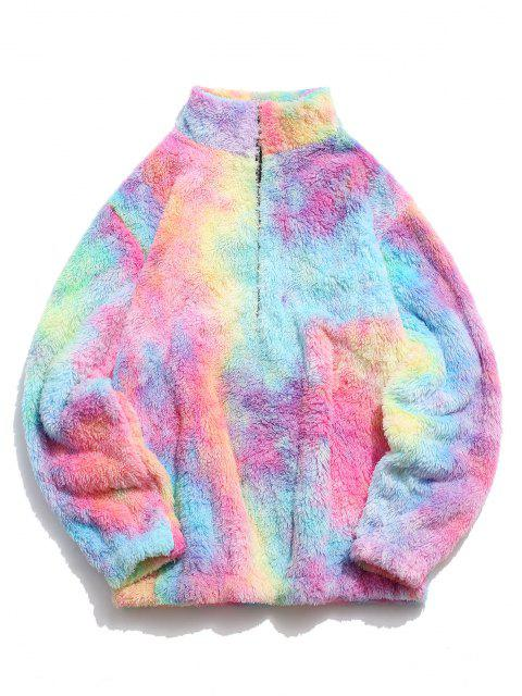 unique Half Zip Colorful Faux Fur Fluffy Sweatshirt - LIGHT PINK M Mobile