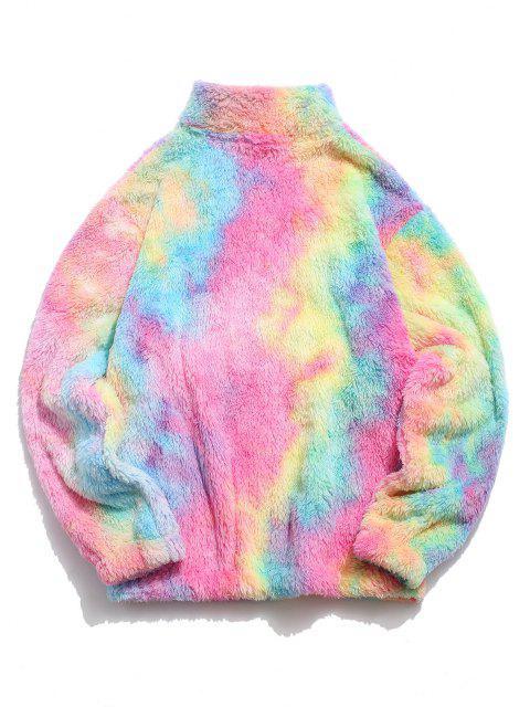 Sweat-shirt Fourré Coloré à Demi-Zip en Fausse Fourrure - Rose clair 2XL Mobile