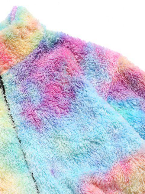 trendy Half Zip Colorful Faux Fur Fluffy Sweatshirt - LIGHT PINK S Mobile