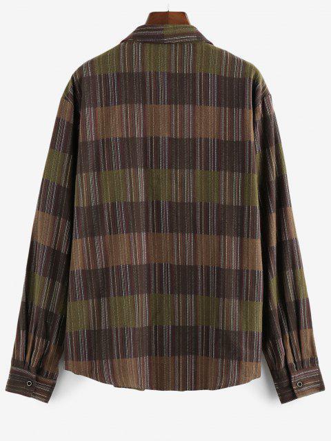 women ZAFUL Long Sleeve Stripes Pocket Button Up Shirt - DEEP COFFEE S Mobile