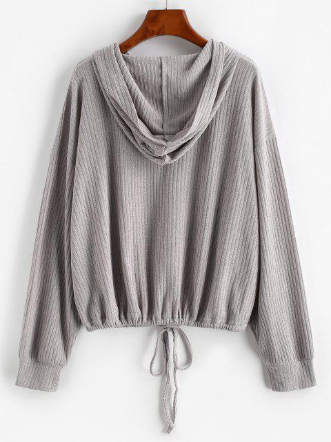 fancy Drop Shoulder Hooded Drawstring Knit Sweater - GRAY S Mobile