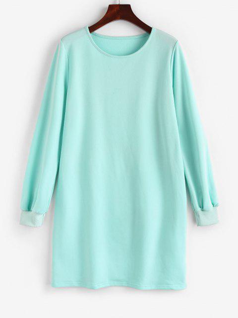 outfits ZAFUL Long Sleeve Shift Sweatshirt Dress - LIGHT BLUE S Mobile