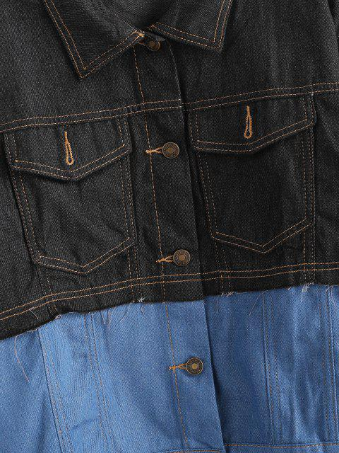 Knopf Farbblock Hohe Niedrige Jeansjacke - Blaugrau XS Mobile
