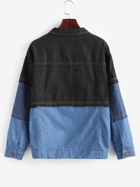 outfit Button Up Colorblock High Low Denim Jacket - BLUE GRAY S Mobile