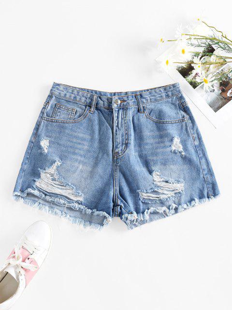 hot Cut Off Ripped Denim Shorts - BLUE L Mobile