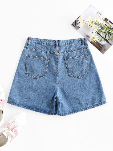 hot ZAFUL High Waist Wide Leg Denim Shorts - BLUE S Mobile