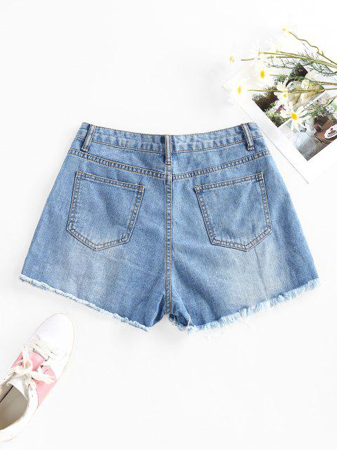 outfits Cut Off Ripped Denim Shorts - BLUE M Mobile