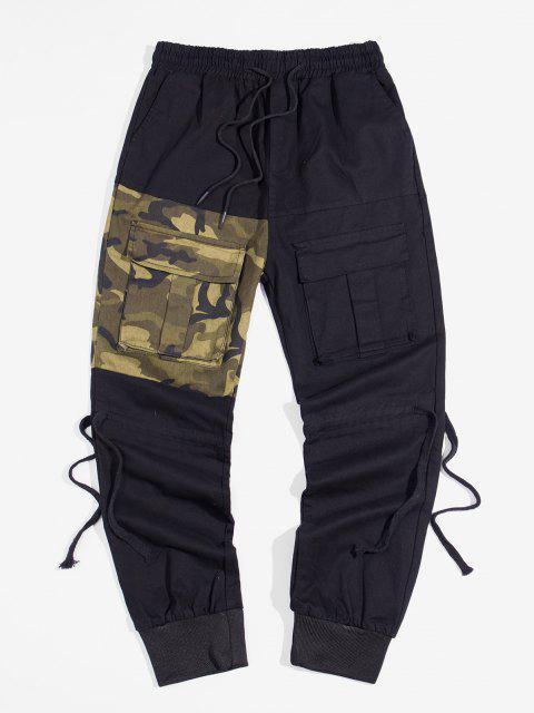 Pantalones Lápiz Contraste Parches y Cordones - Verde Camuflaje M Mobile