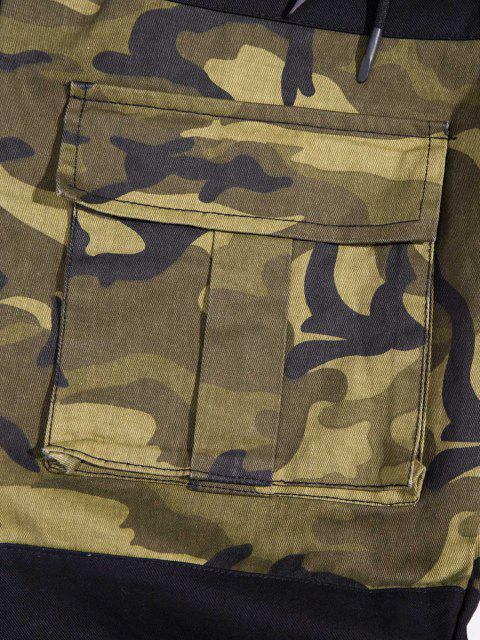 hot Contrast Patch Drawstring Design Pencil Cargo Pants - CAMOUFLAGE GREEN XS Mobile