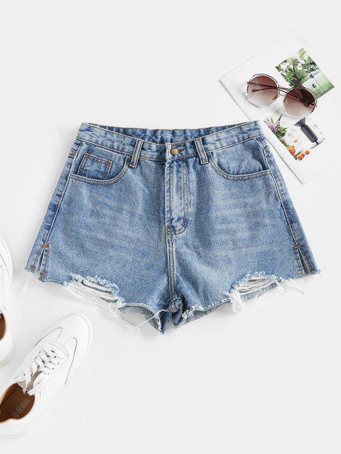 best Ripped Cut-off Denim Shorts - BLUE M Mobile