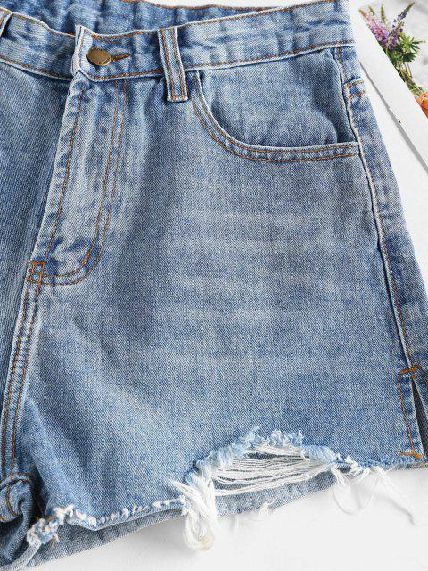 fashion Ripped Cut-off Denim Shorts - BLUE S Mobile