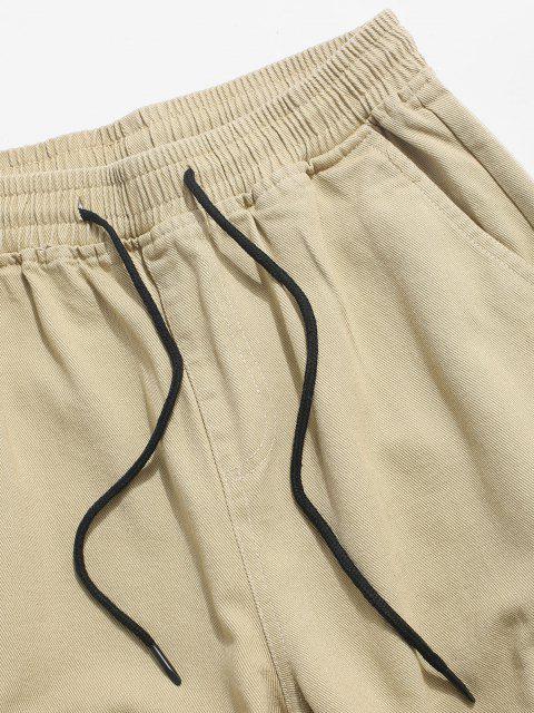 Pantalones Casual Bolsillos y Apliques de Letras - Caqui XS Mobile