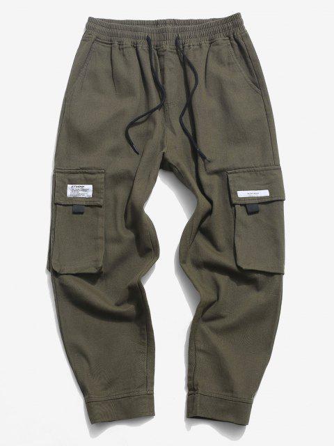 Buchstabe Applikation Lässige Hose mit Mehreren Taschen - Armeegrün XS Mobile