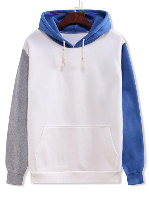 lady Color Blocking Panel Flocking Kangaroo Pocket Hoodie - WHITE 3XL Mobile