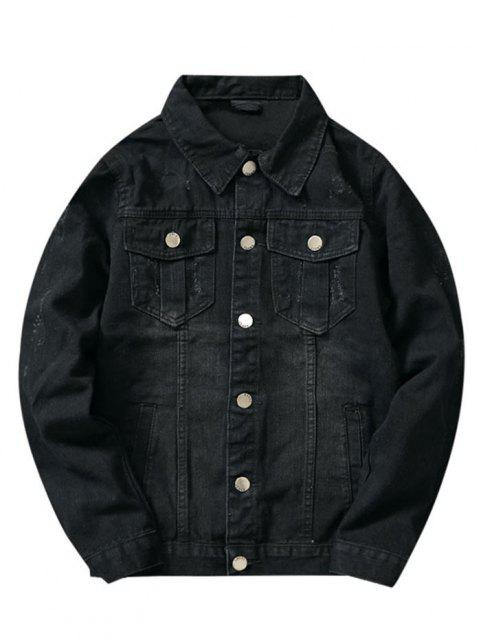 outfit Front Pockets Scratch Button Up Jean Jacket - BLACK XS Mobile