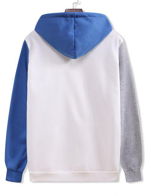 fashion Color Blocking Panel Flocking Kangaroo Pocket Hoodie - WHITE XL Mobile