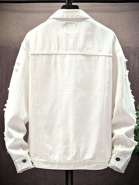 chic Mock Button Distressed Drop Shoulder Denim Jacket - WHITE XL Mobile