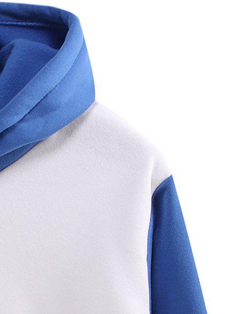 Farbblock Panel Beflockung Känguru Tasche Hoodie - Weiß L Mobile
