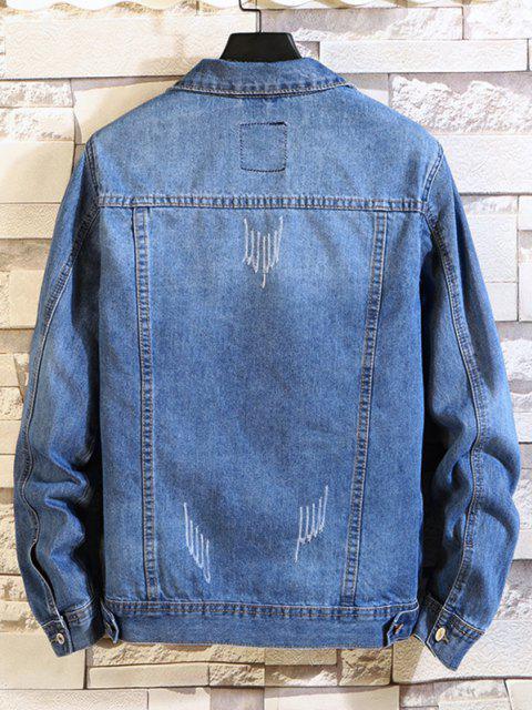 Giacca da Jeans a Scomparto con Tasche con Patta - Blu Denim S Mobile
