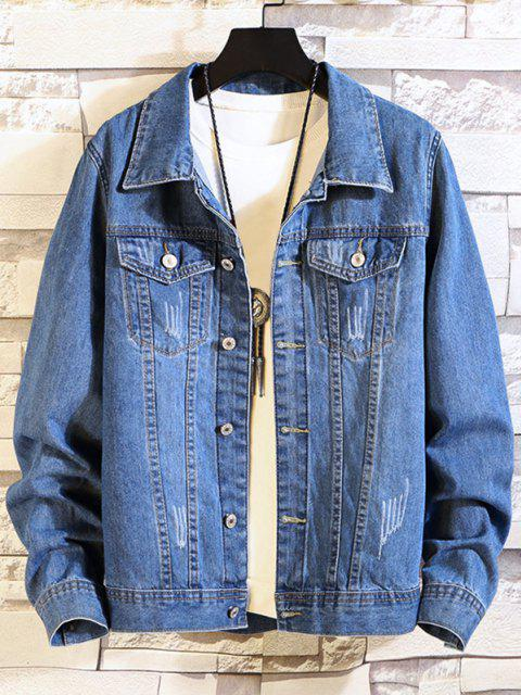 affordable Flap Pocket Scratch Denim Jacket - DENIM BLUE XS Mobile