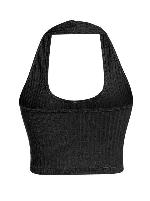 outfits ZAFUL Ribbed Mock Button Halter Backless Tank Top - BLACK S Mobile