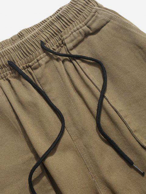 hot Multi Pockets Tapered Drawstring Casual Pants - KHAKI S Mobile