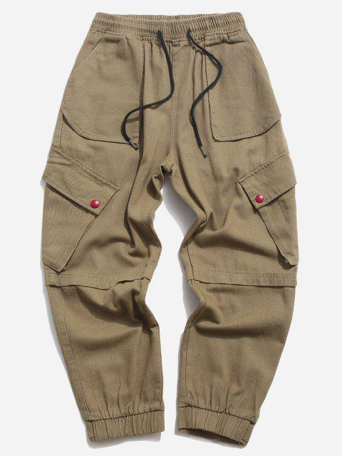 best Multi Pockets Tapered Drawstring Casual Pants - KHAKI XS Mobile