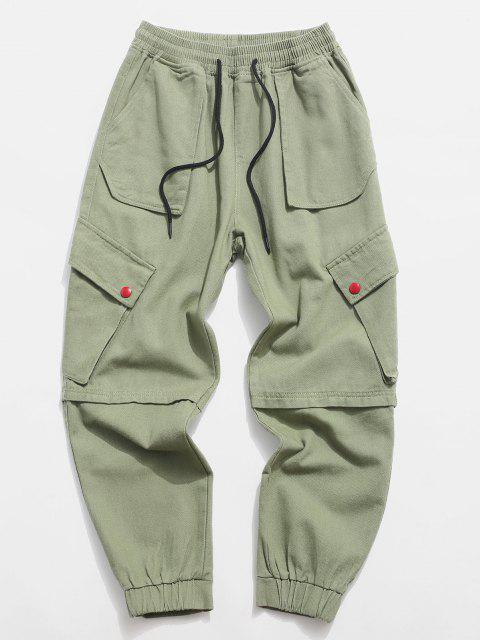 Pantalon Décontracté Fuselé avec Multi-Poches à Cordon - Vert clair M Mobile