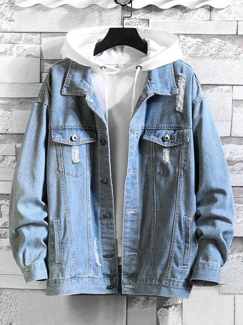 outfit Distressed Flap Pocket Ripped Jacket - DENIM BLUE 4XL Mobile