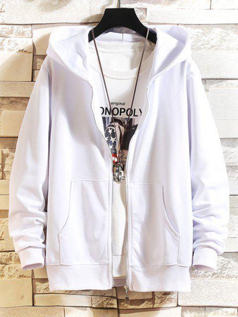 ladies Zip Up Solid Hooded Jacket - WHITE M Mobile