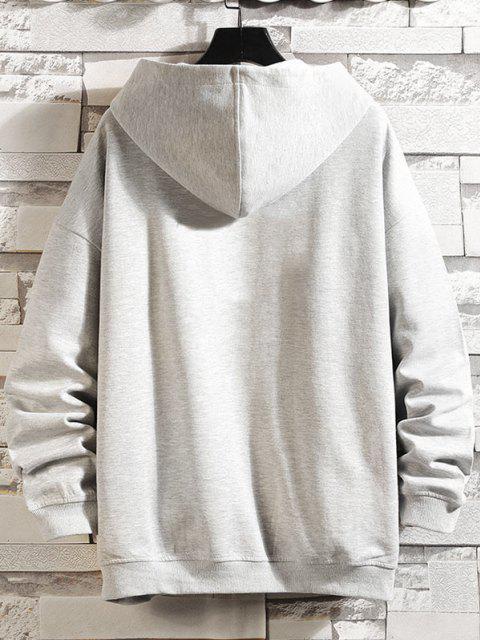 trendy Letters Graphic Print Zip Up Hoodie Jacket - PLATINUM 4XL Mobile