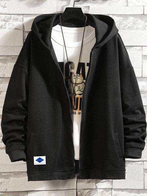 unique Letters Graphic Print Zip Up Hoodie Jacket - BLACK M Mobile