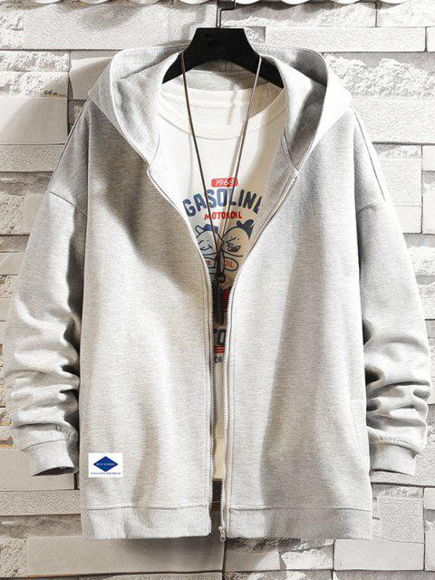 new Letters Graphic Print Zip Up Hoodie Jacket - PLATINUM L Mobile