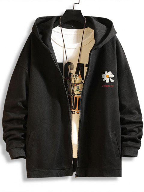 shops Daisy Letter Print Zip Up Hoodie Jacket - BLACK 4XL Mobile
