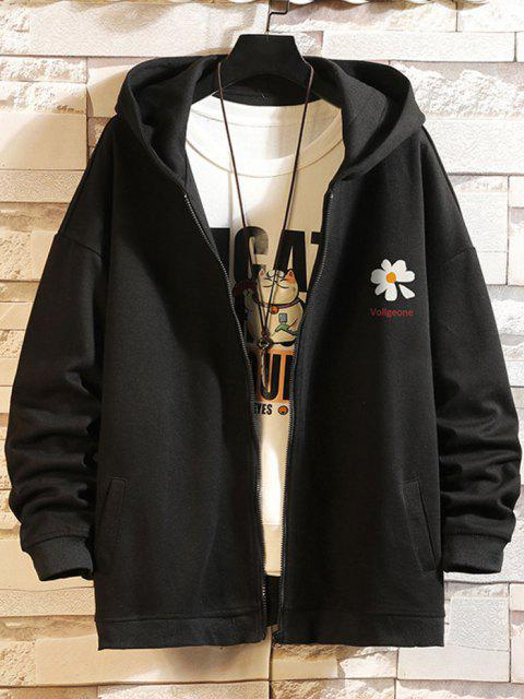 affordable Daisy Letter Print Zip Up Hoodie Jacket - BLACK 3XL Mobile