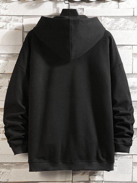 best Letters Graphic Print Zip Up Hoodie Jacket - BLACK XL Mobile