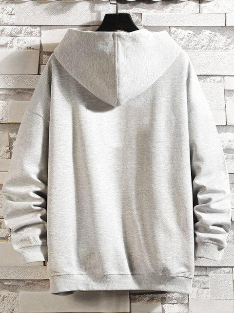 fancy Letters Graphic Print Zip Up Hoodie Jacket - PLATINUM M Mobile