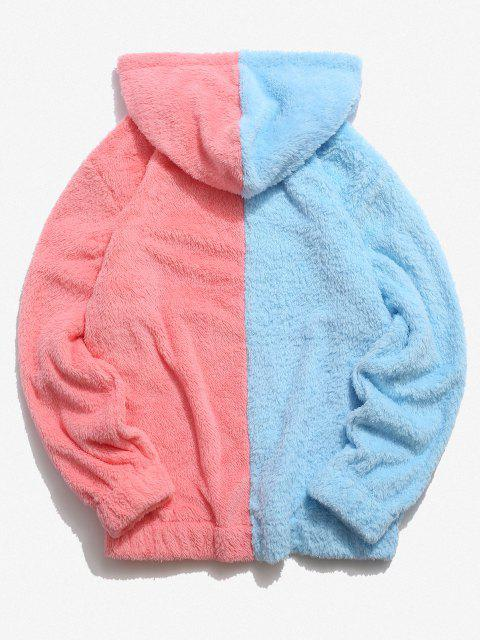 sale Contrast Faux Fur Fluffy Hoodie - LIGHT PINK S Mobile