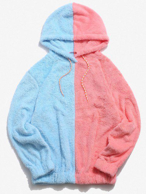 fancy Contrast Faux Fur Fluffy Hoodie - LIGHT PINK L Mobile