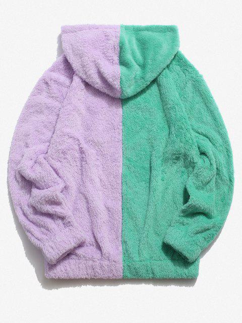 womens Contrast Faux Fur Fluffy Hoodie - LIGHT PURPLE S Mobile