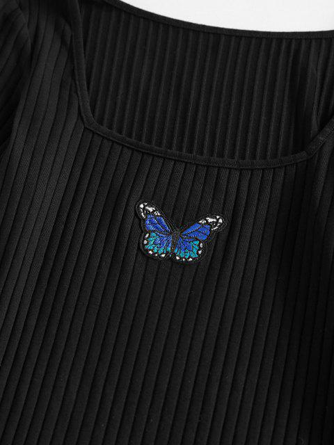 ladies ZAFUL Ribbed Butterfly Applique Bodycon Dress - BLACK S Mobile