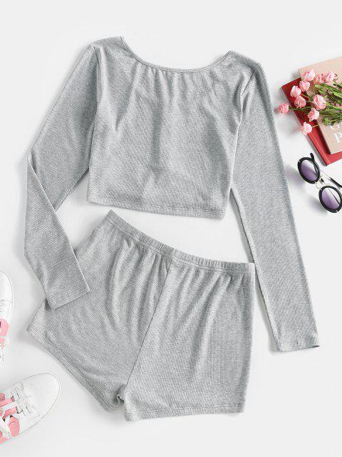 lady ZAFUL Lounge Ribbed Henley Top and Skinny Shorts Set - ASH GRAY XL Mobile