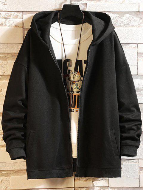 online Hanzi Graphic Printed Zip Up Hoodie Jacket - BLACK XL Mobile