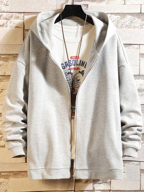 shop Hanzi Graphic Printed Zip Up Hoodie Jacket - PLATINUM 2XL Mobile