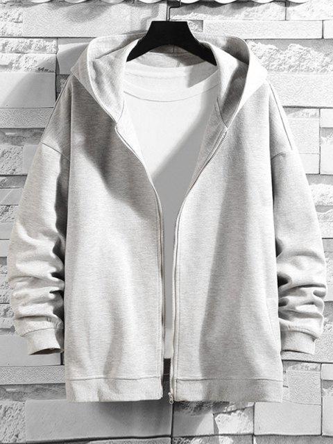 new Letter Text Print Zip Up Hoodie Jacket - PLATINUM L Mobile