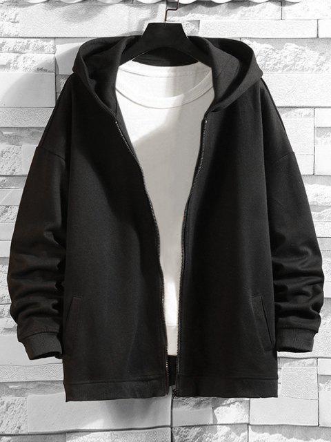 Veste à Capuche Lettre Imprimée Zippée - Noir 3XL Mobile
