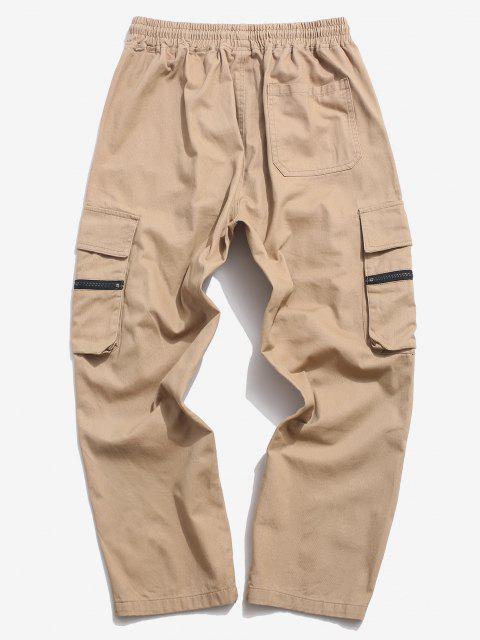 hot Zipper Flap Pocket Straight Cargo Pants - KHAKI 2XL Mobile
