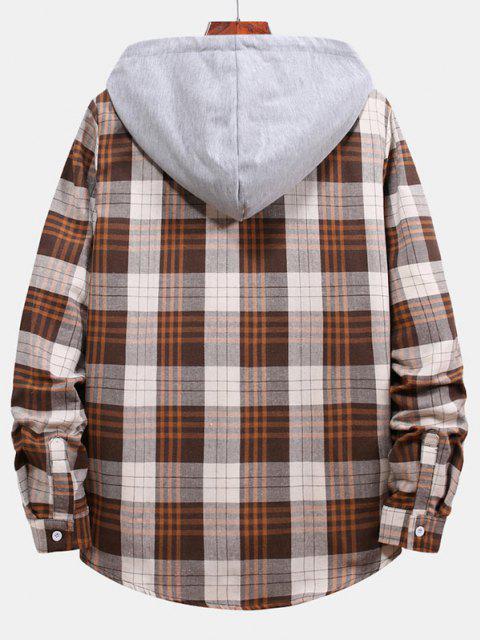 unique Plaid Pattern Color Blocking Hooded Shirt - BEIGE L Mobile