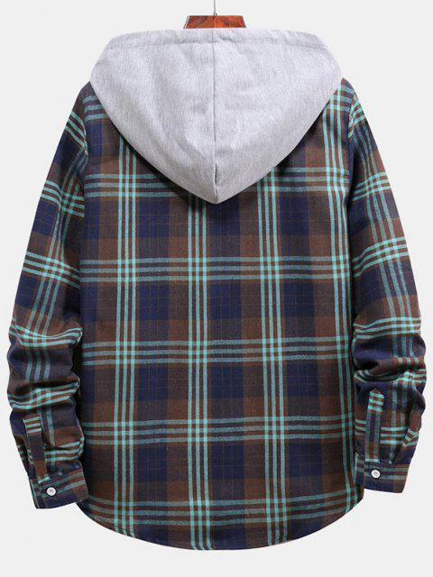 buy Plaid Pattern Color Blocking Hooded Shirt - CADETBLUE 2XL Mobile